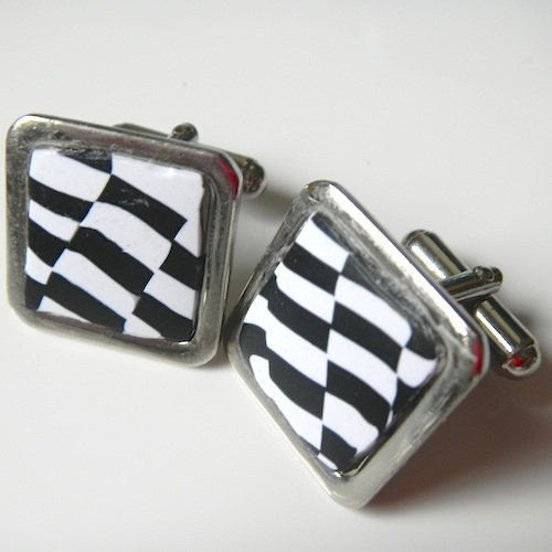 Quirky Black White Cufflinks Square
