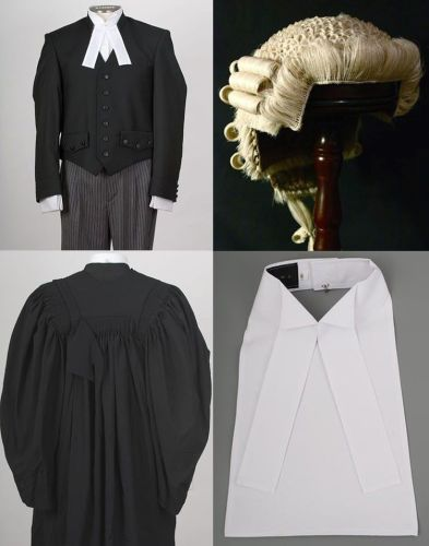 Barrister wig; gown and collar/cravat deluxe set with horsehair