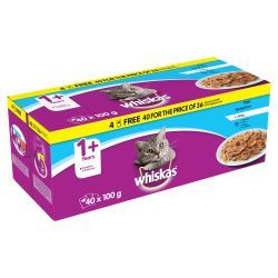 Whiskas 1+ Pouch Fish Selection in Jelly 40/36x100g