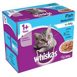 Whiskas 1+ Pouch Fish Selection in Jelly 12x100g