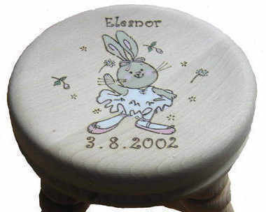 Personalised Girls dancing Rabbit milking stool