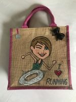 Handpainted bespoke personalised Jute bag - I love running