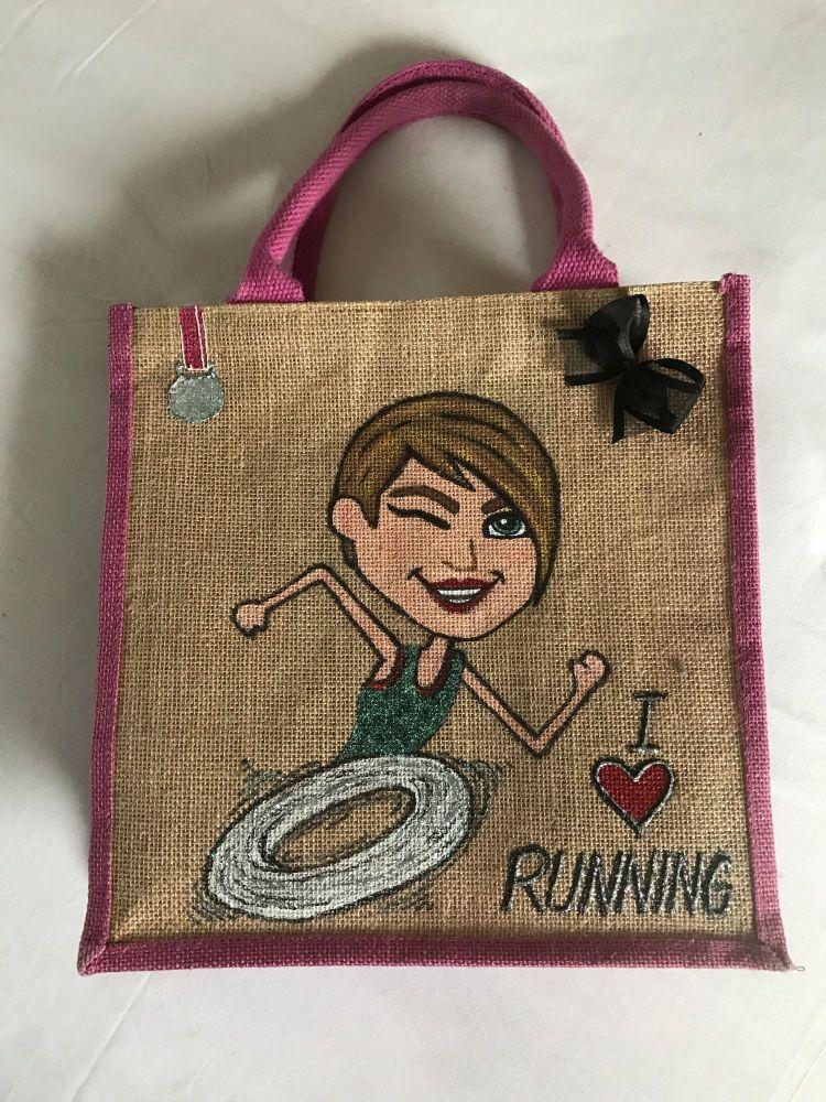 Handpainted bespoke personalised Jute bag - I love running