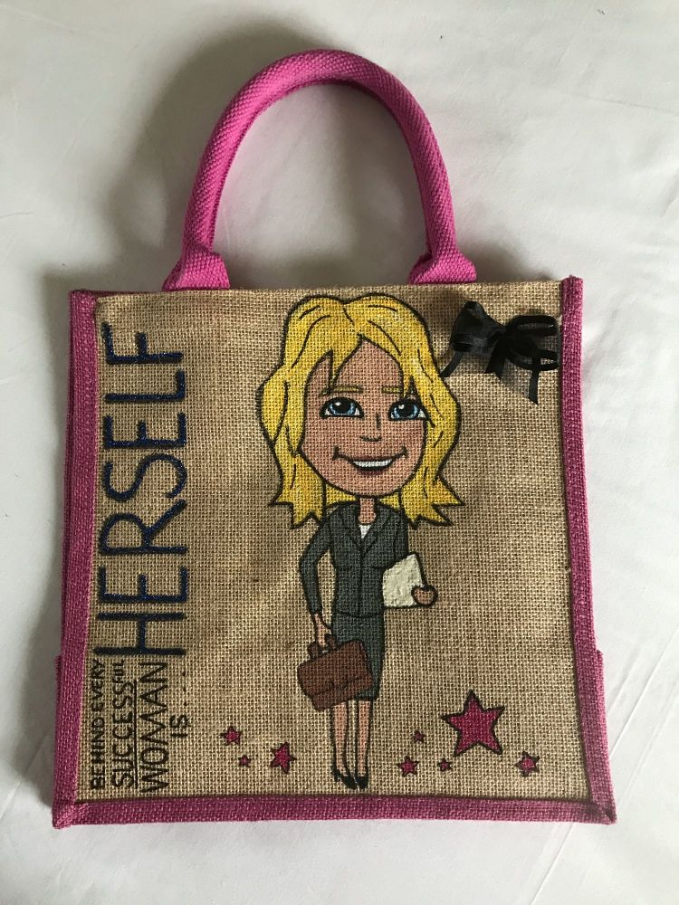 Handpainted bespoke personalised Jute bag - Every day is Prosecco day