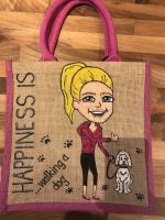 Handpainted bespoke personalised Jute bag - Happiness is walking a dog