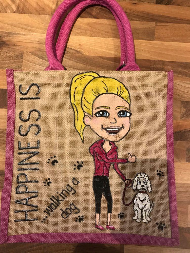 Handpainted bespoke personalised Jute bag - Behind every successful woman i