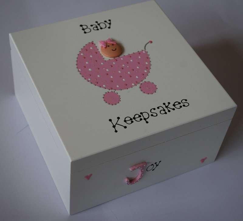 small keepsake box pink pram
