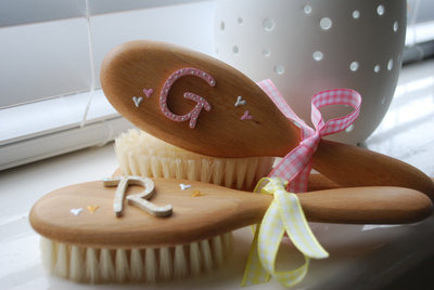 Toddler Hairbrush with wooden initial
