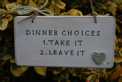 <!--001-->DINNER CHOICES.. - Handmade humorous wooden plaque