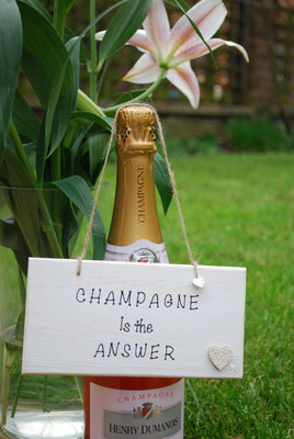 <!--002-->CHAMPAGNE is the ANSWER.. - Handmade humorous wooden plaque