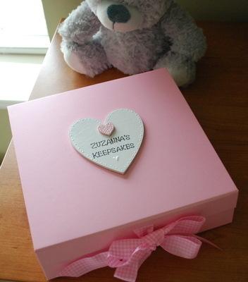 <!--001--> Personalised baby pink Christening keepsake box