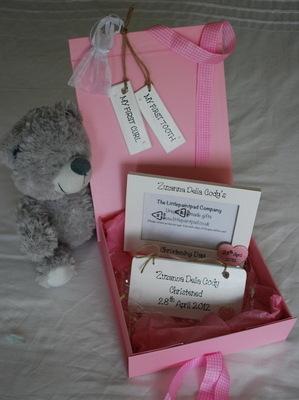Personalised Baby Christening Keepsake Set - Pink