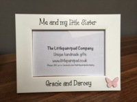 Handmade Children's Photo Frame - Me and my little Sister with butterfly
