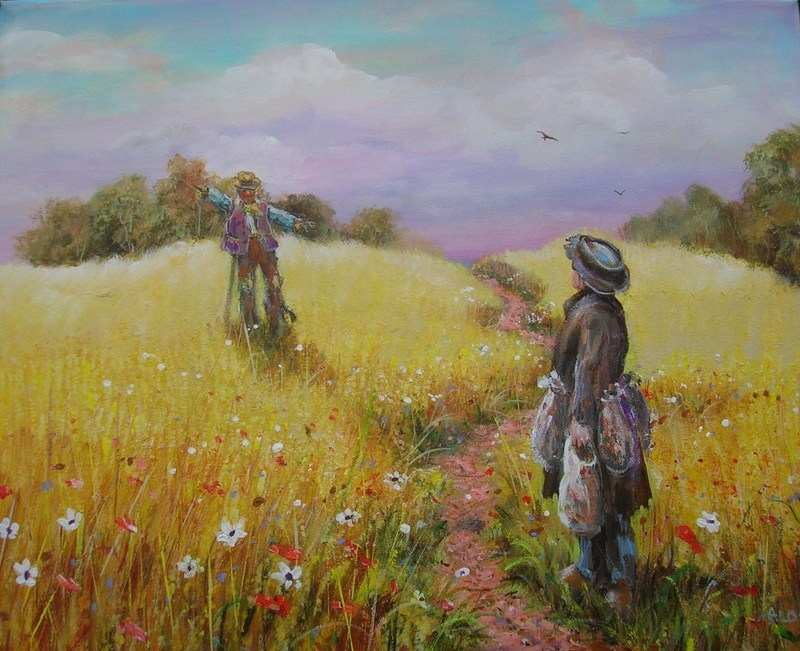 the men in the yellow field
