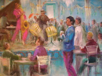 Jazz Hall painting by Leon Goodman
