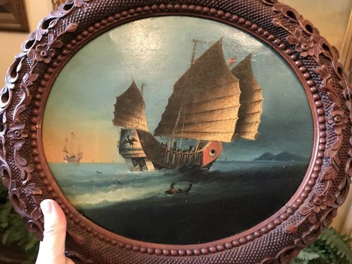 Junk in Hong Kong Harbour - One of a Pair - Anglo Chinese School 19th Century (now sold 30/6/18)