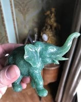 Rare Chinese Natural Hetian Jade Nephrite Carved Elephant with curved trunk Statue