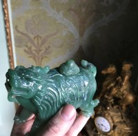 Rare Chinese Natural Hetian Jade Nephrite Carved Imperial Lion inkwell with lid Statue