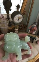 Rare Chinese Natural Hetian Jade Nephrite Carved Imperial Lion II Statue