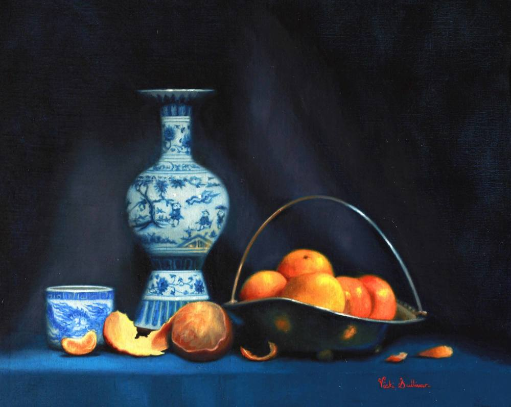 Mandarins with Blue and white vase Oil on belgian linen size h 40cm x w 50