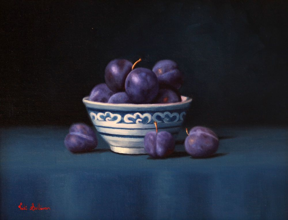 Blue and white Bowl with Blue Damson plums