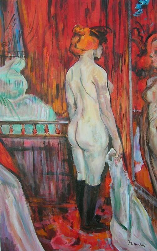 nude woman standing at the mirror lautrec aldus