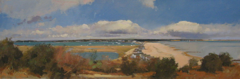 Peter Wileman Christchurch Harbour from Hengistbury Head 10 x 30 Oil on boa