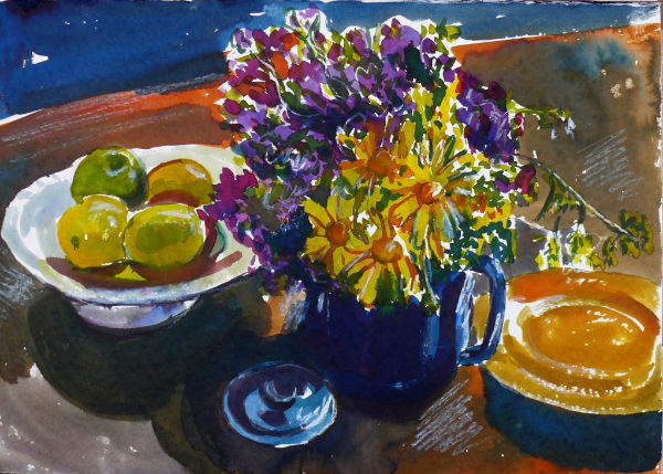 still life with yellow daisies