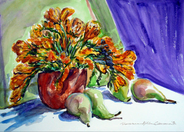 fresias in watercolor