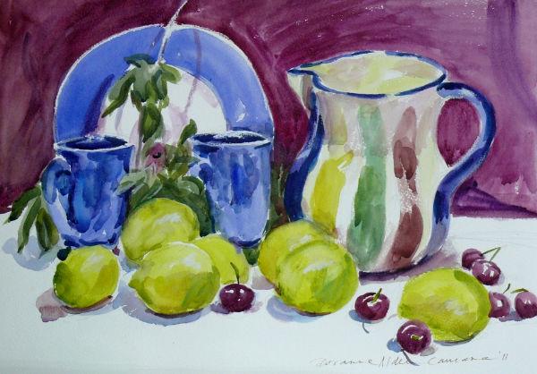lemons and blue plate