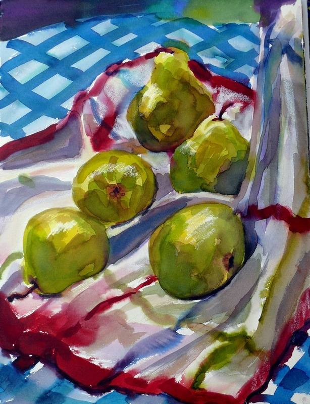 Pears on kitchen towel