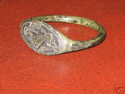 ANGLO SAXON HOUND RING BRONZE RING  SILVER INLAY BEZZEL