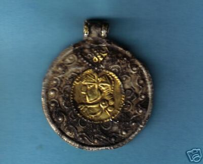 Silver and Gold Saxon portrait pendant
