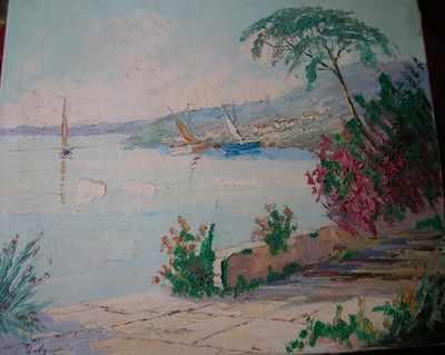 Beautiful Riviera scene signed Raoul Dufy