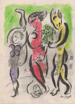 Processional scene signed Marc Chagall