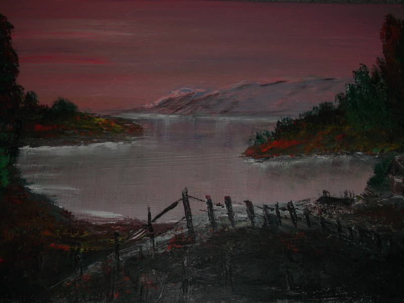 highland croft at sunset Size 16 x 12 Medium acrylic on canvas