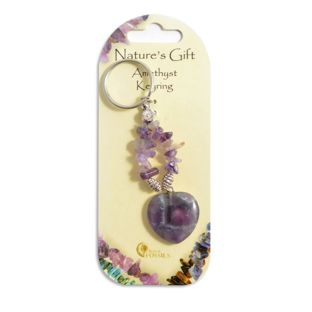 SET OF 20 Nature's Gift Amethyst Heart Keyring