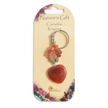 SET OF 20 Nature's Gift Carnelian Heart Keyring