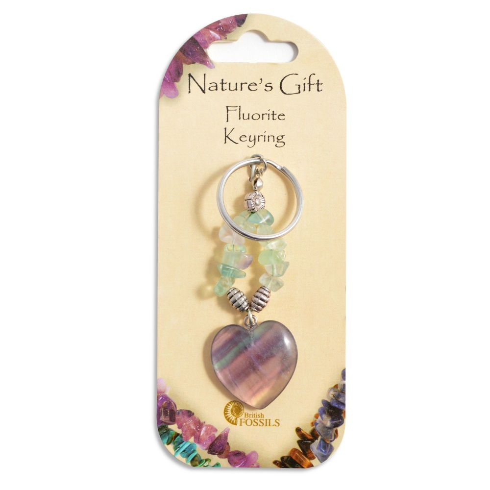 SET OF 20 Nature's Gift FLuorite Heart Keyring