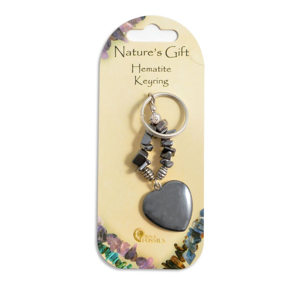 SET OF 20 Nature's Gift Hematite Heart Keyring