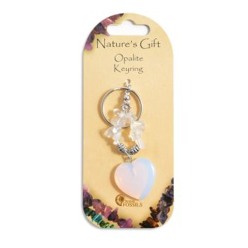 SET OF 20 Nature's Gift Opalite Heart Keyring