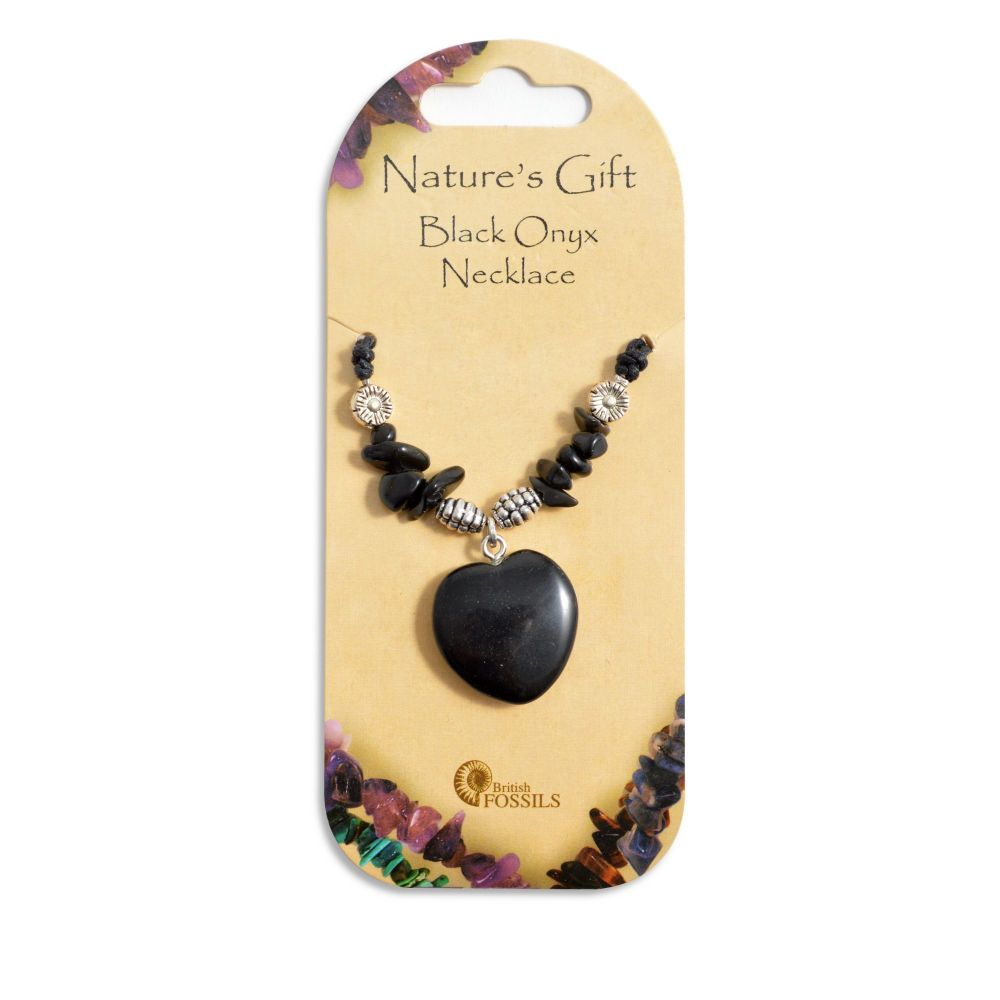 SET OF 20 Nature's Gift Black Onyx Heart Necklaces