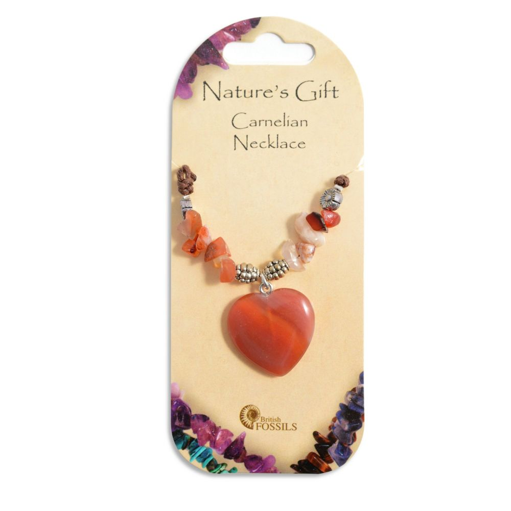 SET OF 20 Nature's Gift Carnelian Heart Necklaces