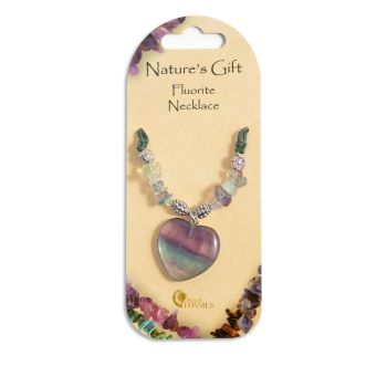 SET OF 20 Nature's Gift Fluorite Heart Necklaces