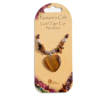 SET OF 20 Nature's Gift Gold Tiger Eye Heart Necklaces