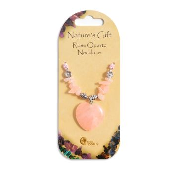 SET OF 20 Nature's Gift Rose Quartz Heart Necklaces