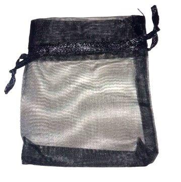 10 x Black 7cm x 9 cm Organza Gift Bags