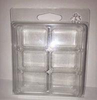 <!--002-->10  x Rectangular 6 Cavity Wax Melt/Tart Clamshell