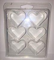 <!--002-->10  x Heart 6 Cavity Wax Melt/Tart Clamshell