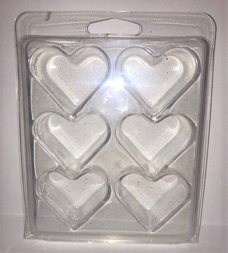 10  x Heart 6 Cavity Wax Melt/Tart Clamshell